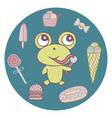 funny hand-drawn frog the sweet tooth vector image