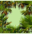 green background with colored painted palm leaves vector image