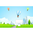 Green City Landscape with Hot Air Balloons vector image vector image