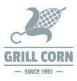 grill corn logo simple gray style vector image vector image