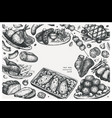 hand drawn cooked meat dishes frame design on vector image