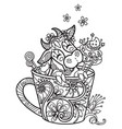 kawaii cute cow in a cup coloring vector image