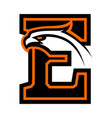 letter e with eagle head vector image