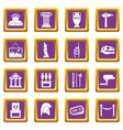 museum icons set purple vector image vector image