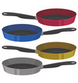 realistic empty frying pan in four colors vector image vector image