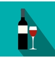 Red wine bottle icon flat style vector image