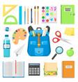 school bag backpack full of supplies children vector image vector image