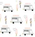 seamless childish pattern with ice cream trucks vector image