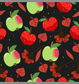 seamless pattern with apples berries and leaves vector image