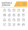 set editable stroke line icons security vector image