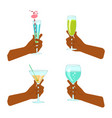 set of hand holding a glass vector image vector image