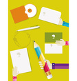 Set of office and business work elements in flat vector image