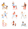 set with parents and their children doing vector image