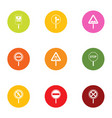 sign highway icons set flat style vector image