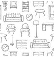 sketch furniture pattern living room doodle vector image