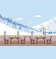 ski resort cafe christmas decorations flat vector image