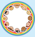 the world children in a circle kids smile white vector image vector image