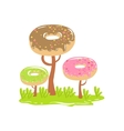 Three Chocolate Trees With Dnut Crowns Fantasy vector image vector image