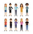 white background with full body group female vector image vector image