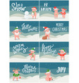 winter holidays and christmas posters with pigs vector image vector image