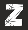 z white alphabet letter isolated on black vector image