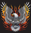 Eagle holding motorcycle engine with flames vector image