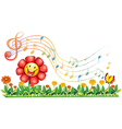 A red flower in the garden with musical notes vector image
