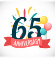 anniversary 65 years template with ribbon vector image vector image