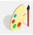 art palette with paints and brush isometric icon