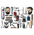 barbershop haircut and shave tools vector image vector image