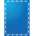 blue frame with white tracery vector image vector image
