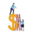 business people stairs dollar symbol vector image vector image