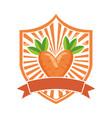 carrot fresh healthy food emblem vector image vector image