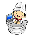 cartoon chef character information desk in vector image