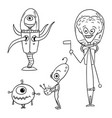 cartoon set 03 of friendly aliens astronauts vector image
