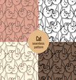 cat seamless patterns set vector image