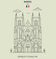 cathedral of st peter and st paul in nantes vector image vector image