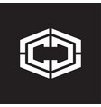 cc logo monogram with hexagon shape and piece vector image vector image