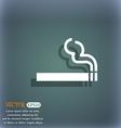 cigarette smoke icon symbol on the blue-green vector image