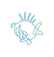 continuous line drawing fish fish logo vector image