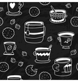 Cute doodle seamless pattern with cups cookies and vector image