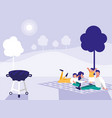 cute family in park with picnic vector image