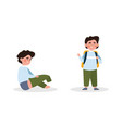 cute little kid is dressing up or changing green vector image vector image