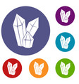 diamonds icons set vector image vector image