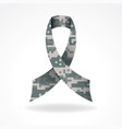 digital camo military support ribbon vector image vector image
