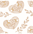 Doodle heartsoutline seamless pattern vector image vector image
