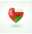 Flag of Oman in shape diamond glass heart vector image vector image
