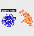 flamed mosaic barbuda island map and grunge sri vector image vector image