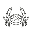 Flat thin line crab isolated on white background vector image vector image