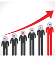 Growth graph with businessman s face vector image